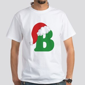 Christmas Letter B Alphabet White T-Shirt