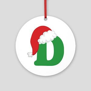 Christmas Letter D Alphabet Ornament (Round)