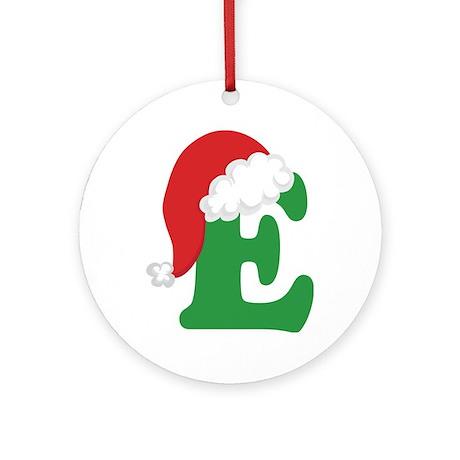 christmas letter e alphabet ornament round