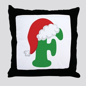 Christmas Letter F Alphabet Throw Pillow