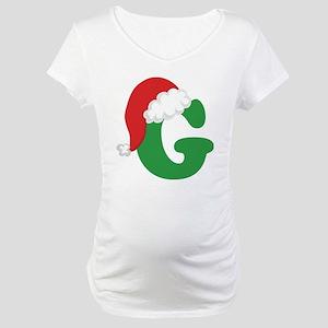 Christmas Letter G Alphabet Maternity T-Shirt