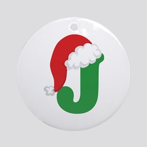 Christmas Letter J Alphabet Ornament (Round)