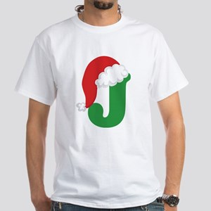 Christmas Letter J Alphabet White T-Shirt