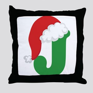Christmas Letter J Alphabet Throw Pillow