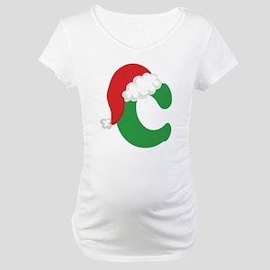 Christmas Letter C Alphabet Maternity T-Shirt
