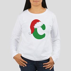 Christmas Letter C Alphabet Women's Long Sleeve T-
