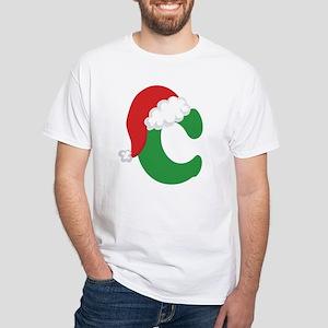 Christmas Letter C Alphabet White T-Shirt