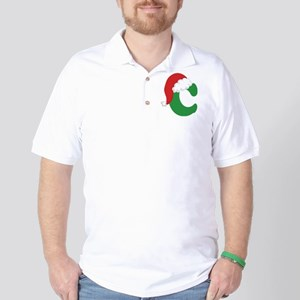 Christmas Letter C Alphabet Golf Shirt
