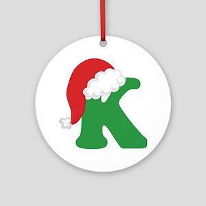 Christmas Letter K Alphabet Ornament (Round)