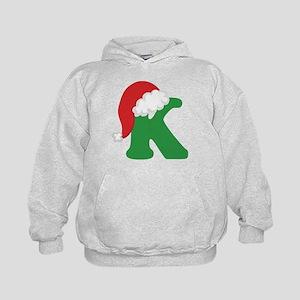 Christmas Letter K Alphabet Kids Hoodie