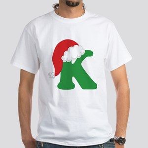 Christmas Letter K Alphabet White T-Shirt