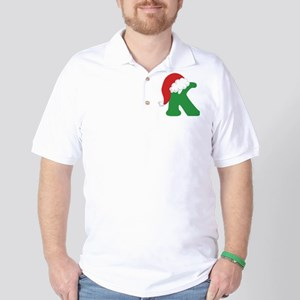 Christmas Letter K Alphabet Golf Shirt