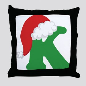 Christmas Letter K Alphabet Throw Pillow