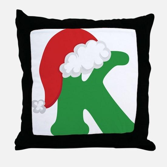 Christmas Letter K Alphabet Throw Pillow