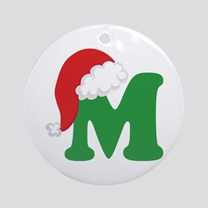 Christmas Letter M Alphabet Ornament (Round)