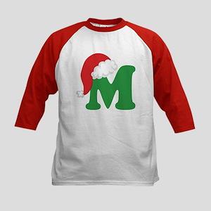 Christmas Letter M Alphabet Kids Baseball Jersey