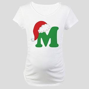 Christmas Letter M Alphabet Maternity T-Shirt
