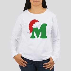 Christmas Letter M Alphabet Women's Long Sleeve T-