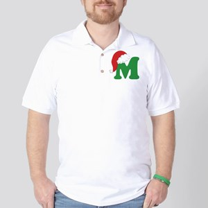 Christmas Letter M Alphabet Golf Shirt