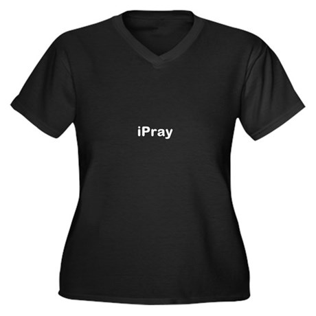 iPray Women's Plus Size V-Neck Dark T-Shirt