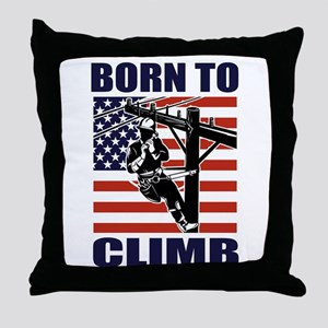 power lineman electrician Throw Pillow