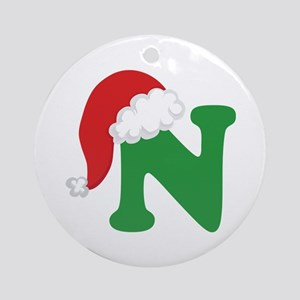 Christmas Letter N Alphabet Ornament (Round)