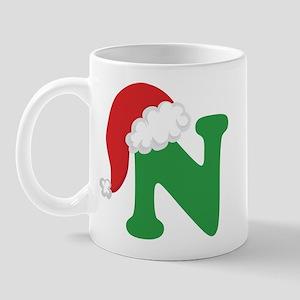 Christmas Letter N Alphabet Mug