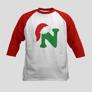 Christmas Letter N Alphabet Kids Baseball Jersey