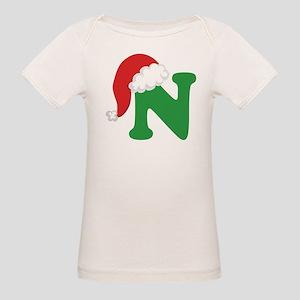 Christmas Letter N Alphabet Organic Baby T-Shirt