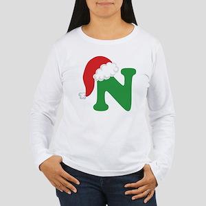 Christmas Letter N Alphabet Women's Long Sleeve T-