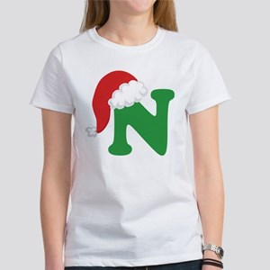 Christmas Letter N Alphabet Women's T-Shirt