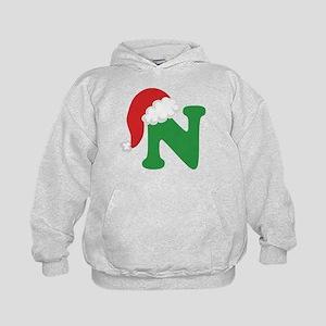 Christmas Letter N Alphabet Kids Hoodie