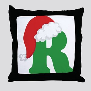 Christmas Letter R Alphabet Throw Pillow