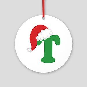 Christmas Letter T Alphabet Ornament (Round)