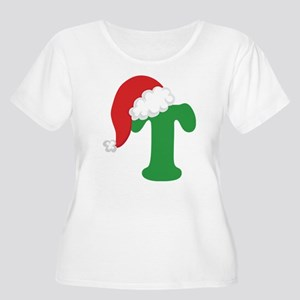 Christmas Letter T Alphabet Women's Plus Size Scoo