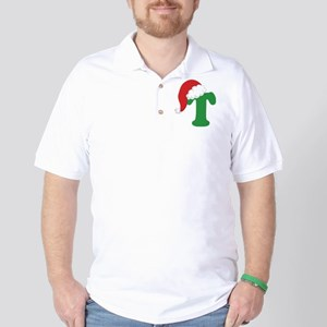 Christmas Letter T Alphabet Golf Shirt
