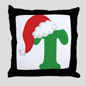 Christmas Letter T Alphabet Throw Pillow