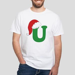 Christmas Letter U Alphabet White T-Shirt