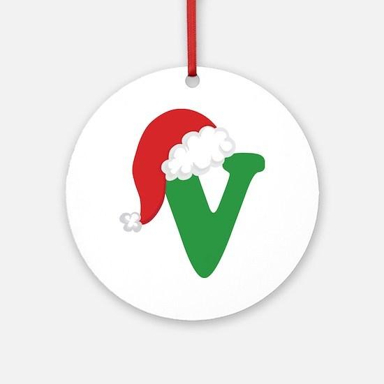 Christmas Letter V Alphabet Ornament (Round)