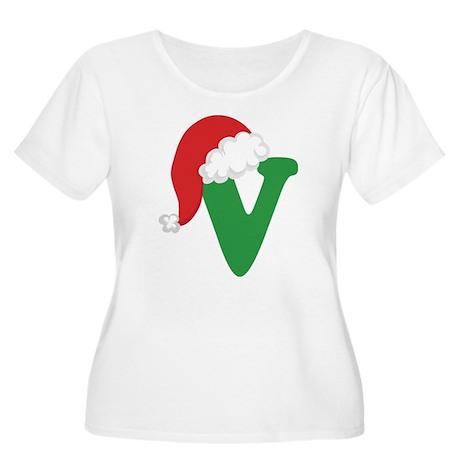 Christmas Letter V Alphabet Women's Plus Size Scoo
