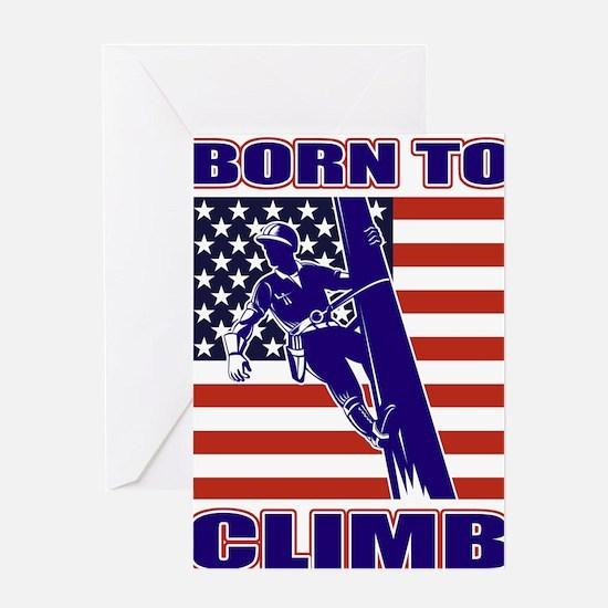american power lineman Greeting Card