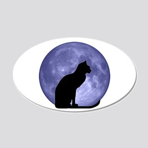 Cat & Moon 22x14 Oval Wall Peel