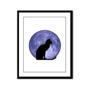 Cat & Moon Framed Panel Print