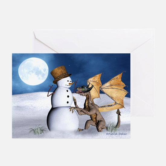 Dragon With Snowman Christmas Cards (Pk Of 20)