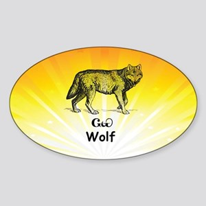 Young Cherokee Wolf Sticker (Oval)
