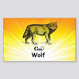 Young Cherokee Wolf Sticker (Rectangle)