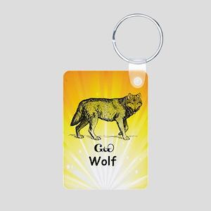 Young Cherokee Wolf Aluminum Photo Keychain