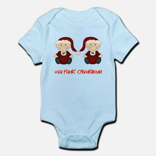 Twin Boys First Christmas Infant Bodysuit