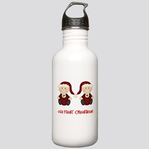 Twin Boys First Christmas Stainless Water Bottle 1
