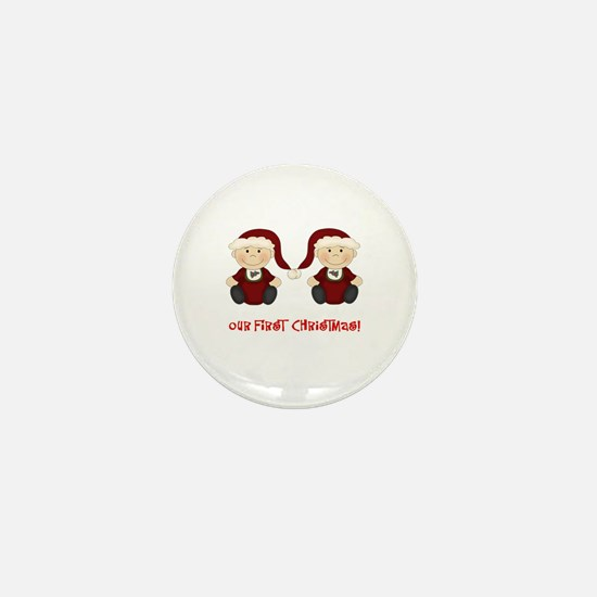 Twin Boys First Christmas Mini Button